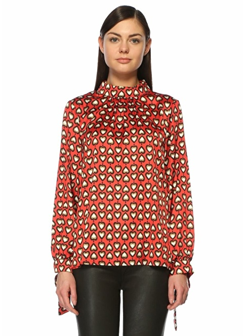 Glamorous Uzun Kollu Desenli Bluz Kırmızı